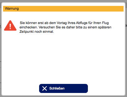 Fail beim Online-Check-In